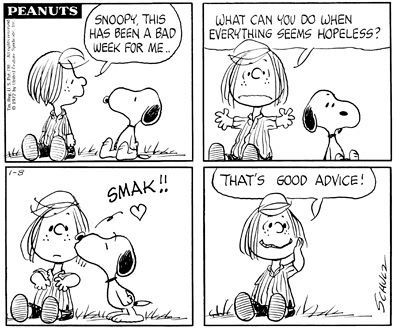 Peanuts - Peppermint Pattie & Snoopy kiss